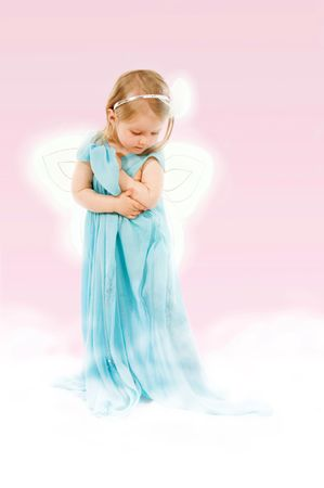 butterfly  angel: Fantasy with little girl of 2.5 in a long dress on a cloud