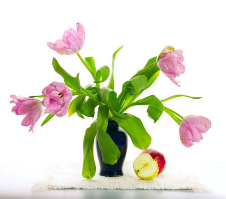Light still-life with curly tulips and apples Stock Photo - 7317082