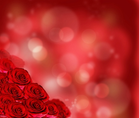 bright red: Floral border with red roses Stock Photo