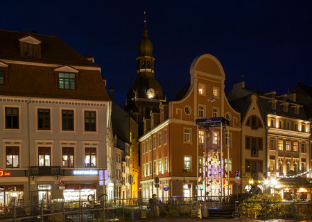 shrouds: Center of old city in the evening on the New Year (capital of Latvia-Riga)