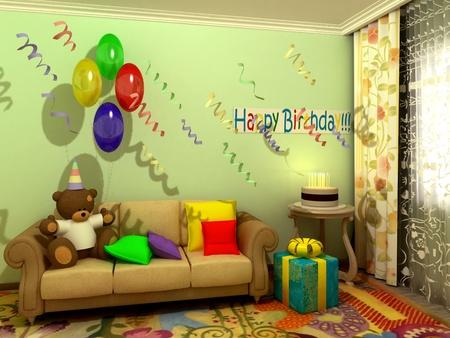 babyroom: Birthday babyroom (child-room) Stock Photo