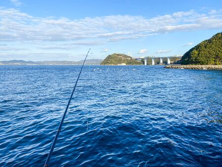 Japanese sea and fishing rod.