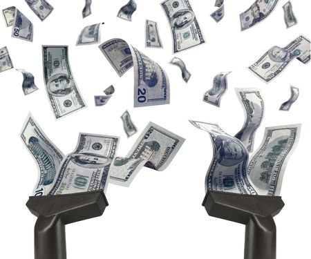 papermoney: Business rivalry (metaphor with two aspirators and flying dollars)