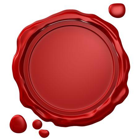 red wax seal: Empty wax seal Stock Photo