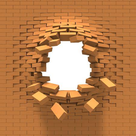 Destruction of a brick wall photo