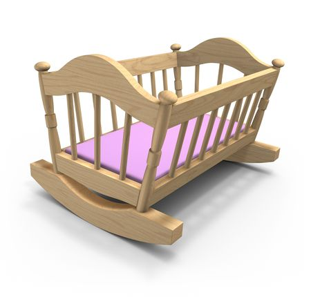crib: Wooden cradle
