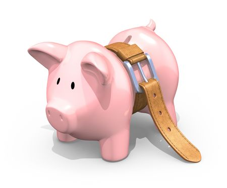 leather belt: Starving piggy bank