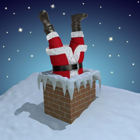 Santa Claus stuck in the chimney  photo