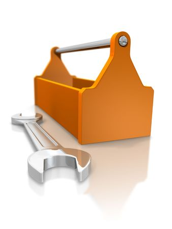 work tools: Toolbox and spanner
