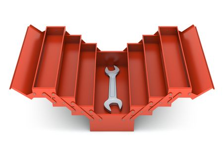 safety box: Red toolbox and spanner