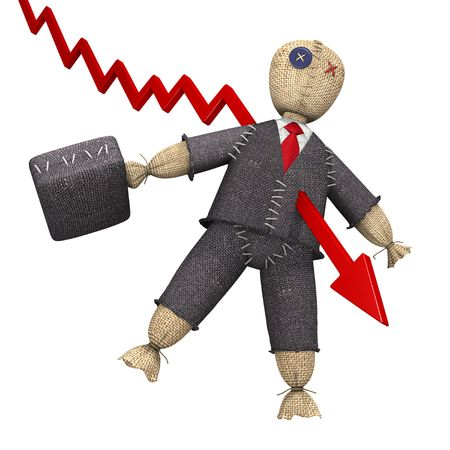 looser: 3D concept with businessman voodoo doll and the graph Stock Photo