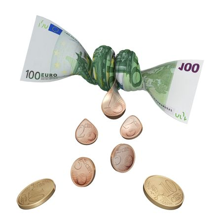 squeezed: Last Cent (3D concept with euro) Stock Photo