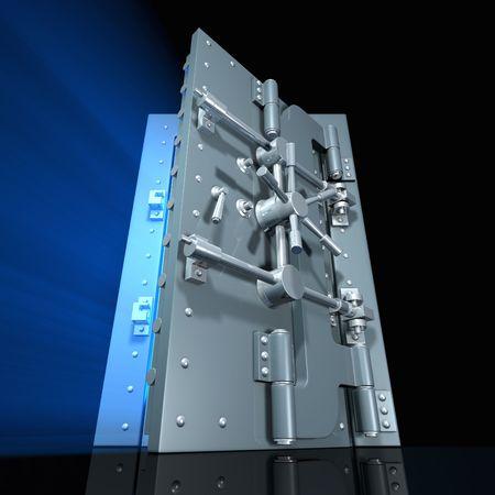 locked door: Open vault