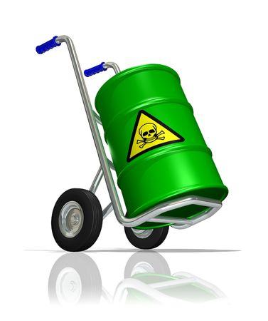 barrel radioactive waste: Toxic transport Stock Photo