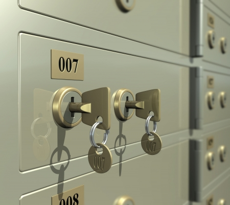 safe lock: Safe deposit box