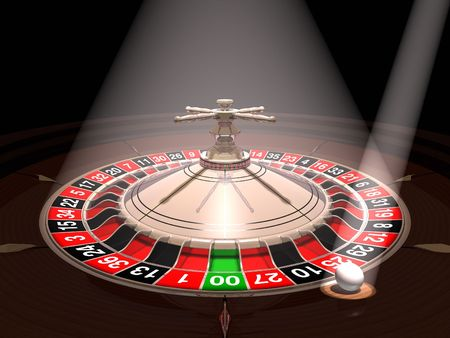 Roulette wheel with the ball under reflectors photo
