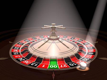 rueda de la fortuna: Ruleta con el bal�n bajo los reflectores  Foto de archivo