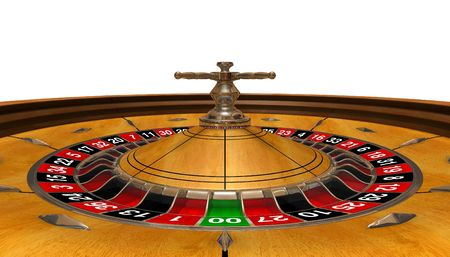 3D rendered roulette wheel, wide angle, view inside photo