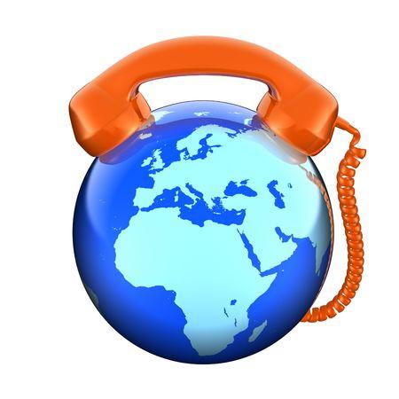 cord: Phone and globe (Europe view) Stock Photo