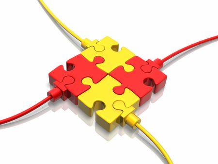 copartnership: Circuit (3D concept with puzzle) Stock Photo