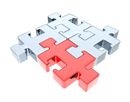 chamfer: Quadratic metallic puzzle Stock Photo