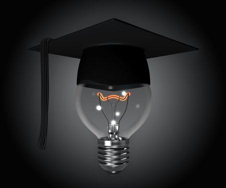 discreet: Idea (concept with a bulb and graduation cap) Stock Photo