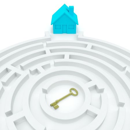 immigrate: Home Key (3D concept) Stock Photo