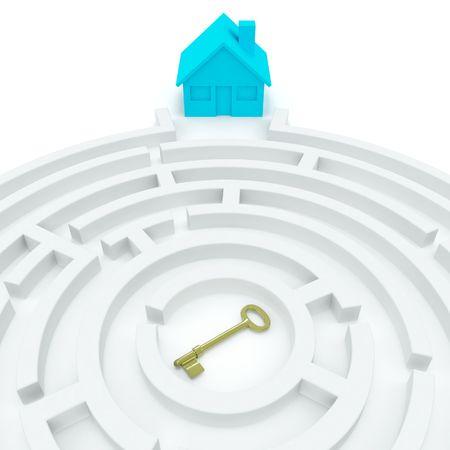 home key: Inicio de clave (concepto 3D) Foto de archivo
