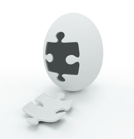 awaking: 3D abstract egg with the puzzle cover