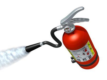 Feuerlöscher in Aktion Standard-Bild