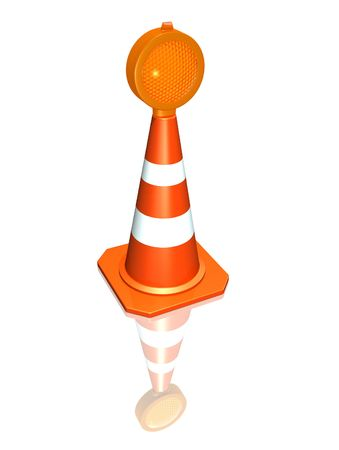 Traffic cone with lamp photo