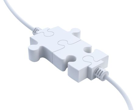transmit: Plugs-3D concept with jigsaw puzzle