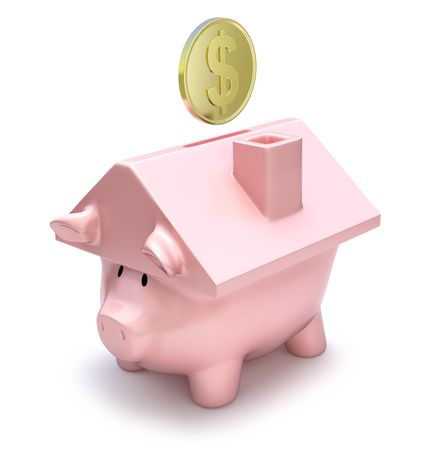 piggy bank: Savings for a house Stock Photo