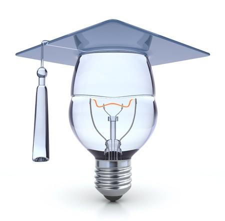 education success: Idea-3D concept with light bulb