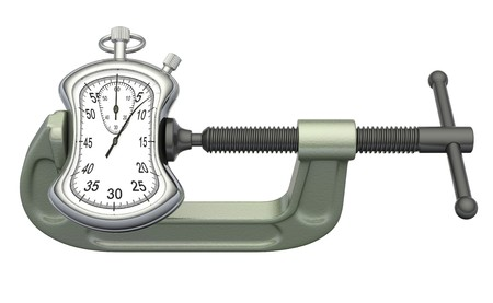 pressing: Stopwatch squeezed in a clamp