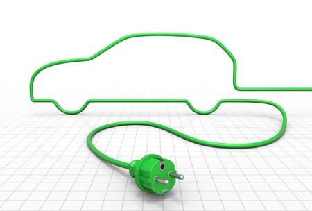 cables electricos: Concepto de coche el�ctrico