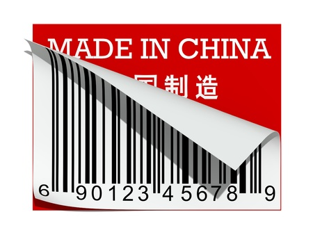 gemaakt: Abstract barcode over rode label Made in China  Stockfoto