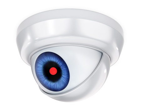 overlook: 3D concept with abstract security camera with the eye Stock Photo
