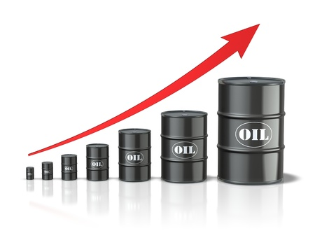Oil barrels with increasing arrow Stock Photo - 8504014