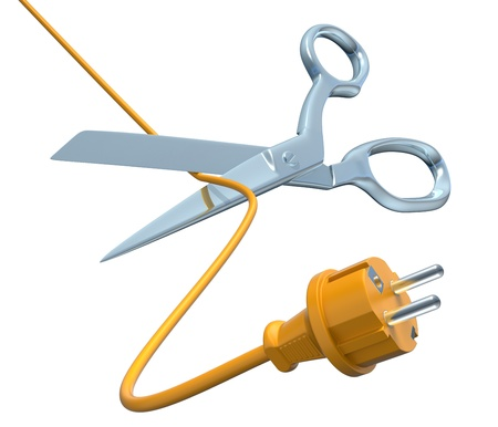 disconnect: Scissors cutting the cord