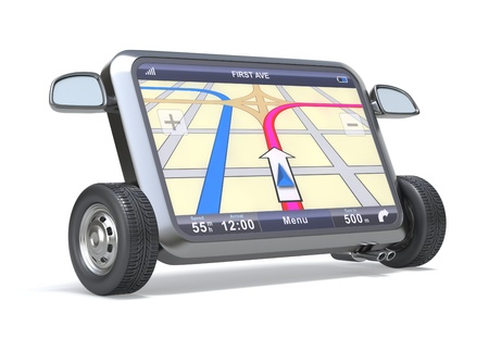 GPS Navigator with abstract map and tires Imagens