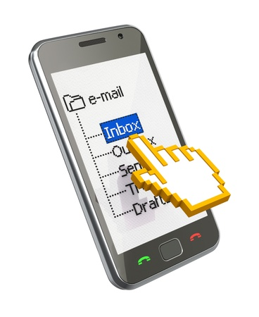 3D communication concept with mobile phone and the cursor Stock Photo - 8920382