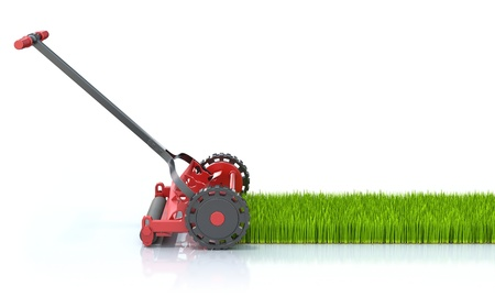 lawn mower: Lawn mower and grass Stock Photo