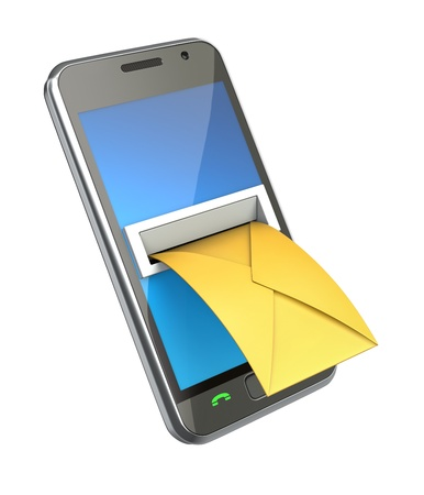 Smartphone with envelope in the letterbox Stock Photo - 9339335
