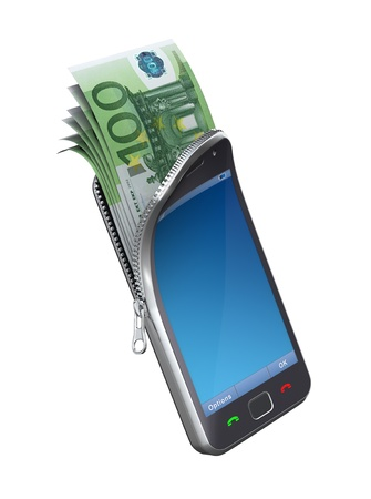 Money in the mobile phone Stock Photo - 9407658