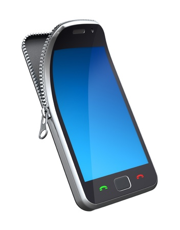 Mobile phone with zipper Stock Photo - 9441326