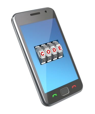 Mobile phone with code mechanism Stock Photo - 9628831