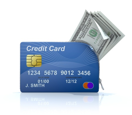 credit card: Credit card with zipper