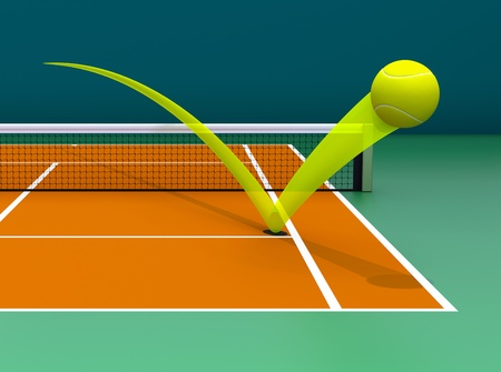 tennis court: Hawk Eye (3D rendered illustration) Stock Photo