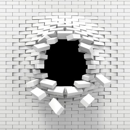 libertad: Destrucci�n de un muro de ladrillo blanco